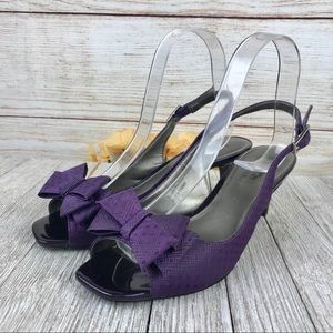 Coach and Four Slingback Purple Bow Heels
